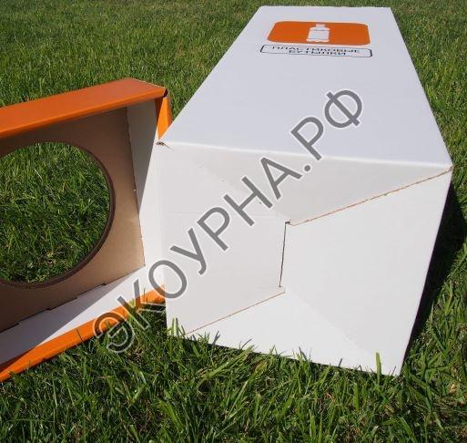 Урна картонная 4мм /белая с цветной печатью 29х29х75, 62л